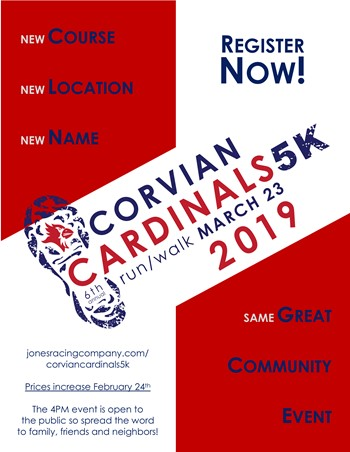 Registration for the Corvian Cardinals 5k is now open!