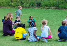Picture of kids playing duck duck goose