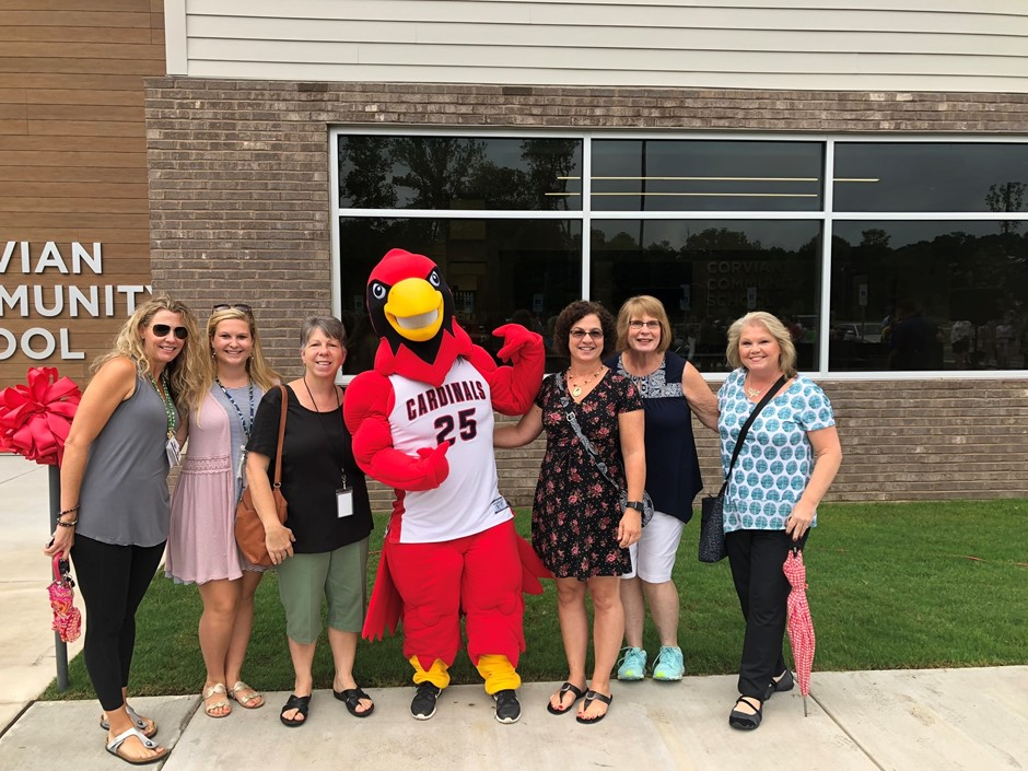 Teachers with our new cardinal
